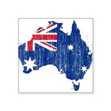 "Australia Flag And Map Square Sticker 3"" x 3"""