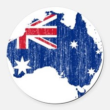 Australia Flag And Map Round Car Magnet