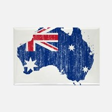 Australia Flag And Map Rectangle Magnet