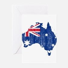 Australia Flag And Map Greeting Cards (Pk of 20)