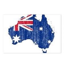 Australia Flag And Map Postcards (Package of 8)