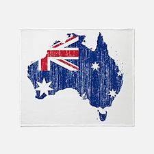 Australia Flag And Map Throw Blanket
