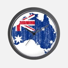 Australia Flag And Map Wall Clock