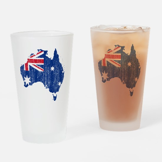 Australia Flag And Map Drinking Glass
