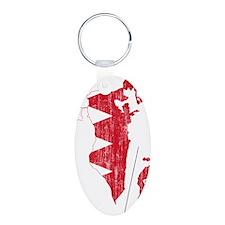 Bahrain Flag And Map Aluminum Oval Keychain