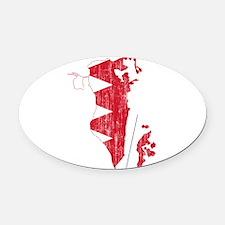 Bahrain Flag And Map Oval Car Magnet