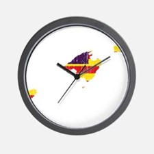 Balearic Islands Flag And Map Wall Clock