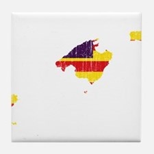 Balearic Islands Flag And Map Tile Coaster