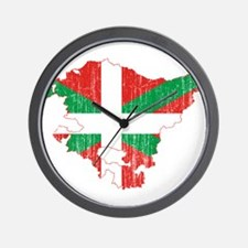 Basque Community Flag And Map Wall Clock