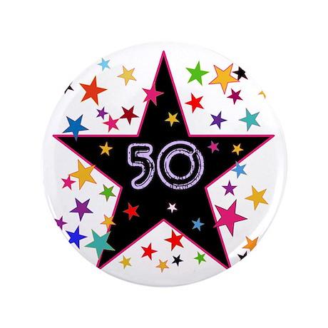 "50th! Festive, Birthday, Anniversary! 3.5"" Button"