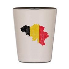 Belgium Flag And Map Shot Glass