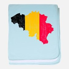Belgium Flag And Map baby blanket