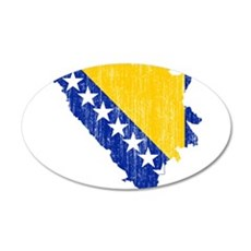Bosnia And Herzegovina Flag And Map Wall Decal