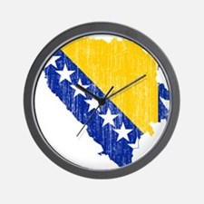 Bosnia And Herzegovina Flag And Map Wall Clock