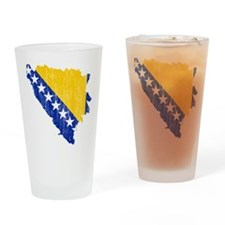 Bosnia And Herzegovina Flag And Map Drinking Glass