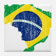 Brazil Flag And Map Tile Coaster
