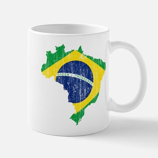 Brazil Flag And Map Mug