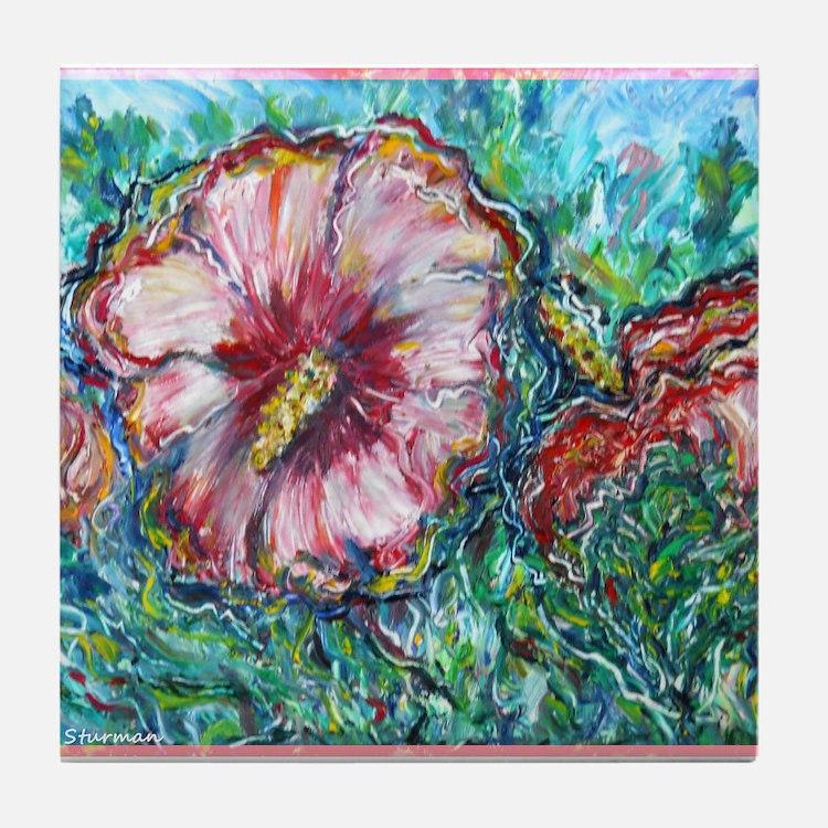 Rose of Sharon! Hibiscus, flower art! Tile Coaster
