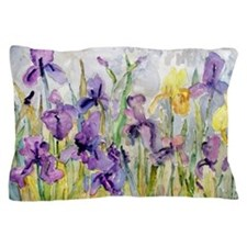 Purple Yellow Iris Romantic Ruffles Pillow Case