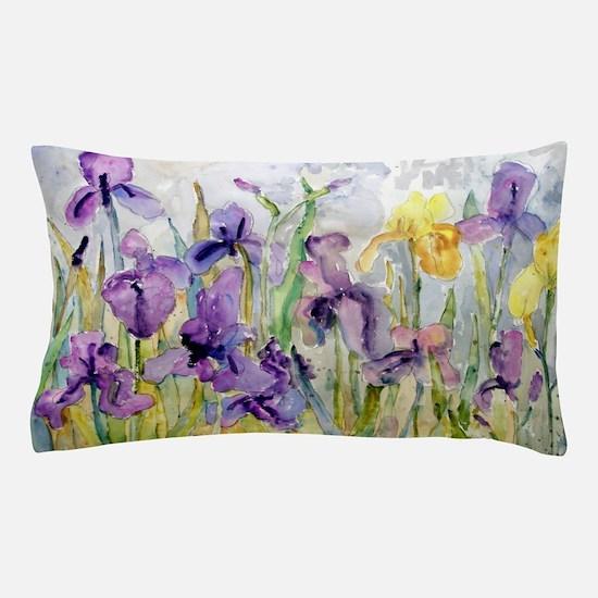 Purple Yellow Iris Romantic Ruffles Pillow Case