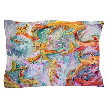 Koi fish decorative pillow case by schulmanart for Koi fish pillow