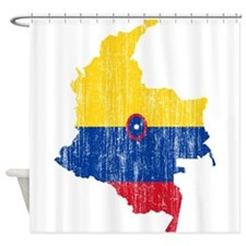 Colombia Civil Ensign Flag And Map Shower Curtain