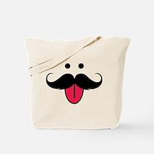 Funny moustache face Tote Bag