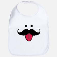 Funny moustache face Bib