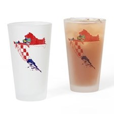 Croatia Flag And Map Drinking Glass