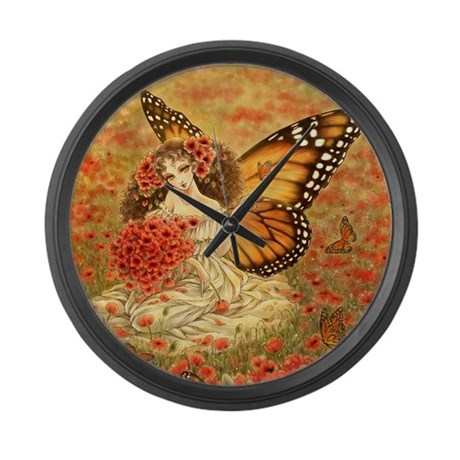 Red Poppies Large Wall Clock
