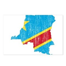 Democratic Republic Of The Congo Flag And Map Post