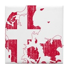 Denmark Flag And Map Tile Coaster