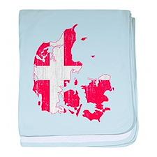 Denmark Flag And Map baby blanket