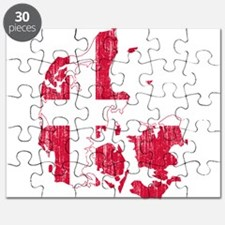 Denmark Flag And Map Puzzle