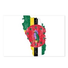 Dominica Flag And Map Postcards (Package of 8)