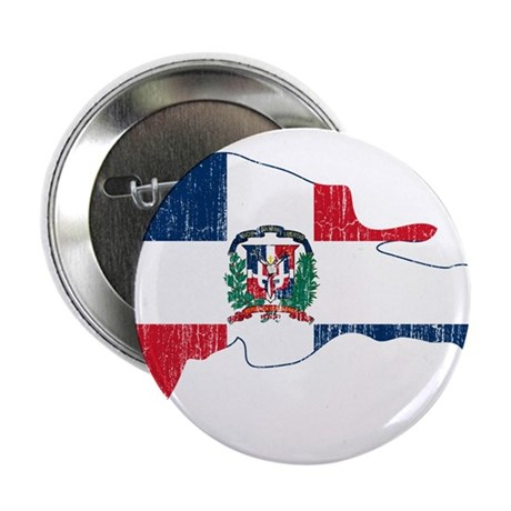 """Dominican Republic Flag And Map 2.25"""" Button"""
