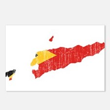 East Timor Flag And Map Postcards (Package of 8)