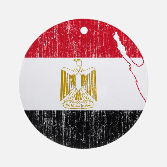 Egypt Flag And Map Ornament (Round)
