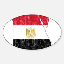 Egypt Flag And Map Sticker (Oval)