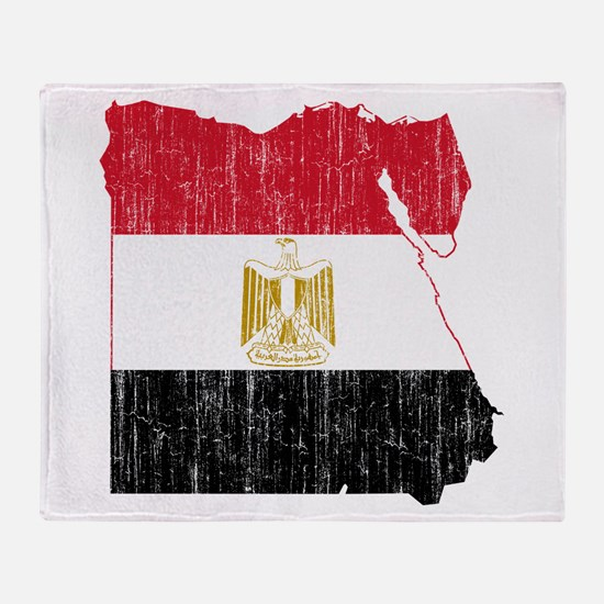 Egypt Flag And Map Throw Blanket