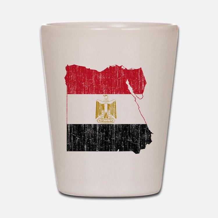 Egypt Flag And Map Shot Glass