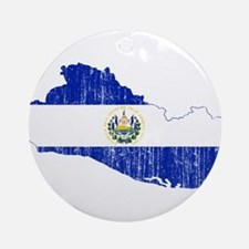 El Salvador Flag And Map Ornament (Round)