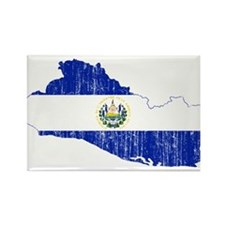 El Salvador Flag And Map Rectangle Magnet