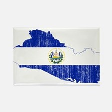 El Salvador Flag And Map Rectangle Magnet