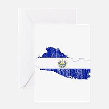 El Salvador Flag And Map Greeting Card