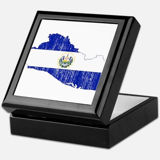El Salvador Flag And Map Keepsake Box