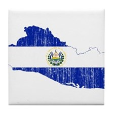 El Salvador Flag And Map Tile Coaster