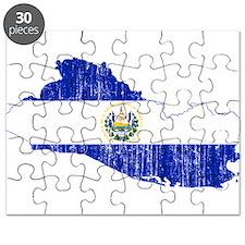 El Salvador Flag And Map Puzzle