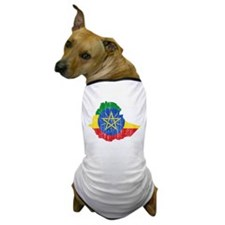 Ethiopia Flag And Map Dog T-Shirt