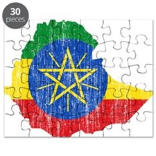Ethiopia Flag And Map Puzzle